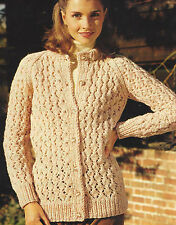 "Ladies Chunky Cardigan Knitting Pattern Lacy details raglan sleeves 32-40""576"