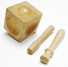 WOOD DAPPING BLOCK & 2 WOOD PUNCH A SET -  WOODEN CUBE SHAPE FORMING TOOL DESIGN