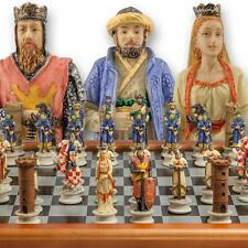 "The Chessmen Hand Painted Crusades Chess Set with 3"" King and 40cm Chessboard"