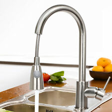 "16"" Pull-Out Swivel Spray spout Kitchen Sink Faucet Brushed Nickel One Handle"