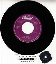 """BEATLES Twist And Shout & There's A Place 45 7"""" record NEW RARE + juke box strip"""