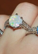 fire opal Cz ring Sz 6.5 7.5 gems silver jewelry chic engagement wedding band
