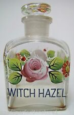 Antique WITCH HAZEL Apothecary Drug Store Square Glass Bottle Hand Painted Jar