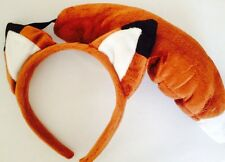 NEW FOX EARS HEADBAND TAIL SET - FUN FANCY DRESS BOOK DAY DANCE PARTY ANIMAL