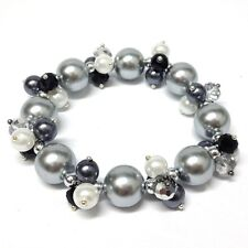 Bleek2Sheek Bridal White and Gray Faux Pearl and Crytal Glass Cluster stretch br