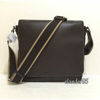 New Coach F70555 Men's HERITAGE Web Leather Crossbody Map Messenger Bag Brown