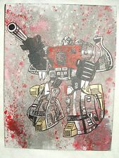 Canvas Painting Transformers Dinobot Sludge Grey Spatter Art 16x12 inch Acrylic