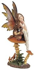 "9"" Inch Forest Fairy sitting on Mushroom Statue Figurine Figure Fantasy Magical"