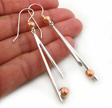 Copper Ball Bead and 925 Sterling Silver Taxco Mexico Long Stick Earrings