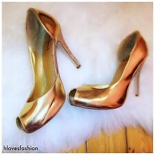 ✨JASPER CONRAN Gold Patent 100% Leather Peep Toe Platform Heels UK 6 EU 39 US 8✨