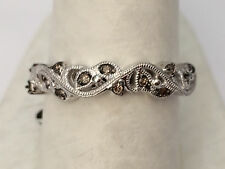 White Gold Champagne Chocolate Leaf White Diamonds Fashion Righ Hand Ring Band