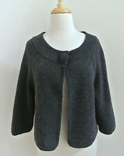 LORD & TAYLOR 100% cashmere cropped cardigan sweater L charcoal basketweave knit