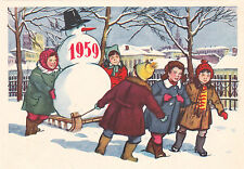 1958 RARE New Year Children with Snowman on the sledges Russian Soviet postcard