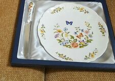 """Aynsley """"Cottage Garden"""" Cake Plate and Serving Knife"""