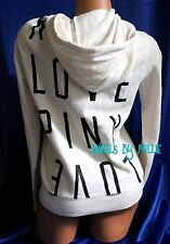 Victoria Secret PINK Hoodie Small S White Black Love Funnel Neck Full Zip Baggy