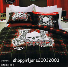 Piping Hot ☠ Checkers ☠ Single/US Twin Bed Quilt Doona Duvet Cover Set