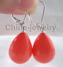 Beautiful 20mm drip pink coral color sea shell pearl earring - 925 silver hook