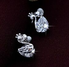 Silver tone zircon crystal swan stud earrings with 925 sterling silver backs