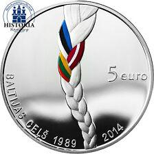 Letonia 5 euros de plata conmemorativa 2014 pp Baltic way el camino Báltica