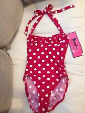 Bettie Page Inspired Polka Dot Red-Bathing Suit-Size 12-New with Tags
