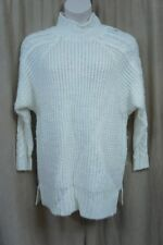 Guess Sweater Sz M Scuffy Ivory Wool Alpaca Blend Cable Knit Raglan Slouchy