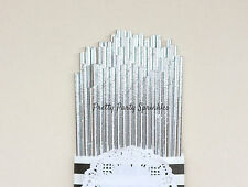 50 Solid Silver Foil Straws/Great Gatsby/30 40 50 Birthday Decoration/Wedding