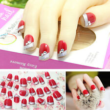 24pc Bride 3D False Artificial Fake Nails Tips Red Wine French Diamond Finger