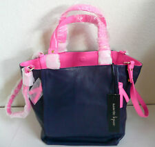 Nanette Lepore Small Colorblock Double Sided Tote Bag Navy-Pink Leather NWT