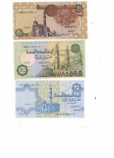 Set of 3 Pcs Egypt 25,50 Piastres 1 Pound Egypt Paper Money ((UNC))