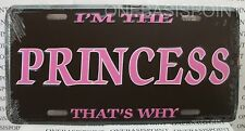 I'm The Princess License Plate Aluminum Embossed Vanity Sign Car Tag Auto Pink