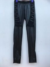 Mesh & Leather Leggings - Size 8-10 - Sexy Tight Trousers in Faux Leather Detail