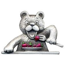 Cute Vintage Style Pewter Bear Eating Strawberries Brooch by Joe Cool