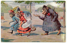 .érotique. jeunes filles et le marcheur.vieillard libidineux.singes humanisés.
