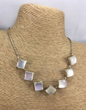 Vintage Necklace Moonglow Lucite White Squares & Goldtone Choker