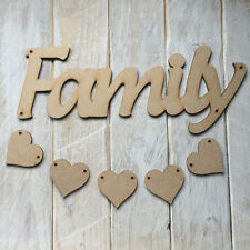 MDF Wood FAMILY Hanging Plaque Sign Craft Shape Blank FAMILY with HEARTS