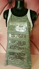 Victorias Secret PINK Gray HUGE Sequin Bling Graphic Campus Tee Tank Top Shirt S