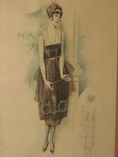 Antique Vtg Art Deco Framed Fashion Illustration Flapper Girl Dress Drawing 1920