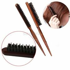 Salon Comb Hair Teasing Brush Wooden Handle Back Comb Natural Boar Bristle