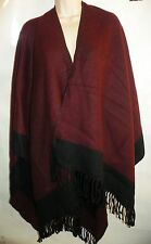Large Womens Warm Cashmere Winter Burgundy & Black Fringe Shawl Wrap Cape Poncho