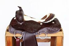 """16"""" CLASSIC HAIR ON WESTERN LEATHER PLEASURE TRAIL RANCH COWBOY HORSE SADDLE"""
