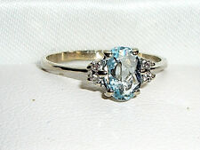 Vintage 14kt White Gold ,75CT Aquamarine with Diamond Accents Ring - Size 5.75