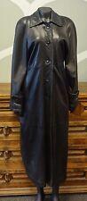 DAMSELLE Vintage Black Leather Full Length Jacket - Medium