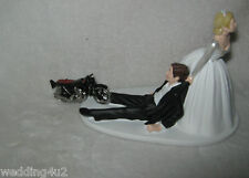 Wedding Party Reception ~Motorcycle~ Cake Topper Biker Hog Bride Dragging Groom