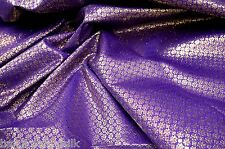 PURPLE GOLD BLING FLORAL METALLIC BROCADE FABRIC WEDDING CHAIR SASHES TABLECLOTH