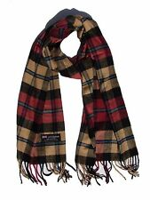 New 100% Cashmere Scarf Rose/Camel/Black check Plaid Wool Soft Unisex (#C09)