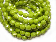 6mm Chartreuse Luster Czech Glass Firepolished Round Beads (25) #4225