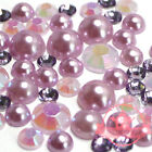 200 pcs Resin 3mm-6mm round Flatback Mix assorted Purple Rhinestone pearls