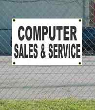 2x3 COMPUTER SALES & SERVICE Black & White Banner Sign NEW Discount Size & Price