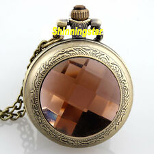 Vintage Bronze Necklace Pendant Chain Pink Quartz Pocket Watch Women Lady Gifts