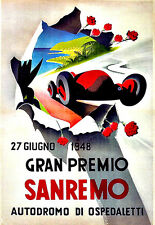 Art Deco Grand Premio Sanremo 1948 Car Racing Advert  A3 Art Poster Print